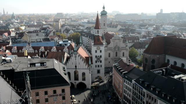 Munich with its Alte Rathaus (old town hall) and church Heiliggeist next to Viktualienmarkt. video