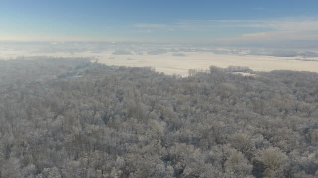 AERIAL Mur river and wintry countryside video