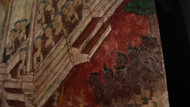 Mural in 18th century inside Buddhist temple of Thailand video