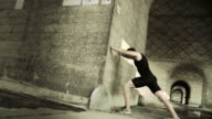 Muscular Male Runner Warming Up Before Run video