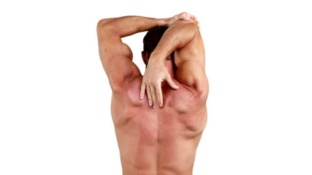 Muscular man flexing his muscles video