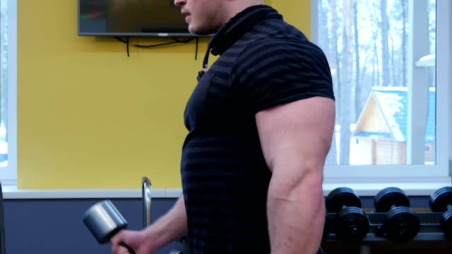 Muscular man working out in gym doing arm exercises video