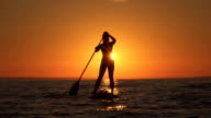 SLOW MOTION: Muscular young girl paddling towards the shore at dreamy sunset video
