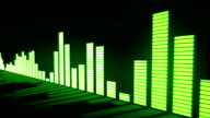 Music control levels. Glow acid-green audio equalizer bars moving with the reflection from the mirror surface. video