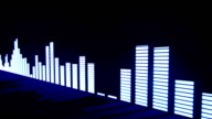 Music control levels. Glow blue audio equalizer bars moving with the reflection from the mirror surface. video