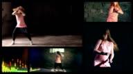 Music dancer. Split screen video