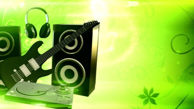 Music equipment with Copy Space (green) - Loop video
