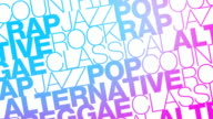 Music Genres move across screen video