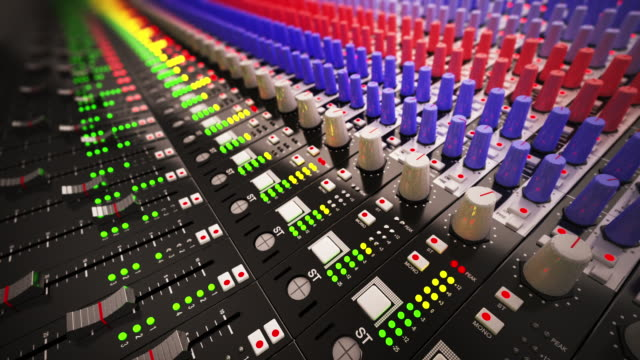 Music Mixer desk table in recording studio.Loopable CG video