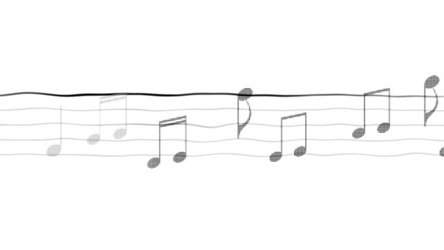 Music notes moving on sheet, composing app, karaoke, black and white background video