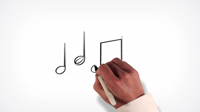 Music Notes Whiteboard Stop-Motion Style Animation video