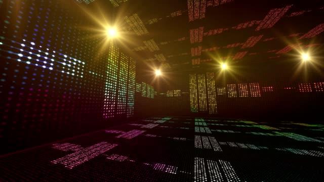 Music Waves Room, Lights Bulbs Animation, Rendering, Background, Loop video