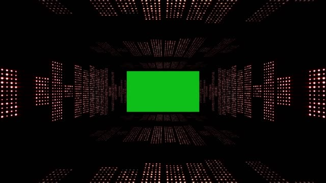 Music Waves Tunnel, with Green Screen, Lights Bulbs Animation, Rendering, Background, Loop video