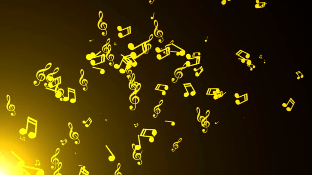 Musical notes float. Abstract background video