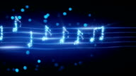 musical notes from fireworks loopable animation video