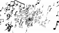 Musical Notes on white zoom in Loopable full HD video
