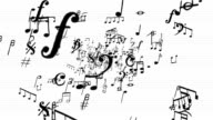 Musical Notes on white zoom out Loopable full HD video