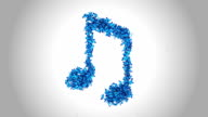 Musical Notes Symbol made by Blue Butterflies - Alpha video