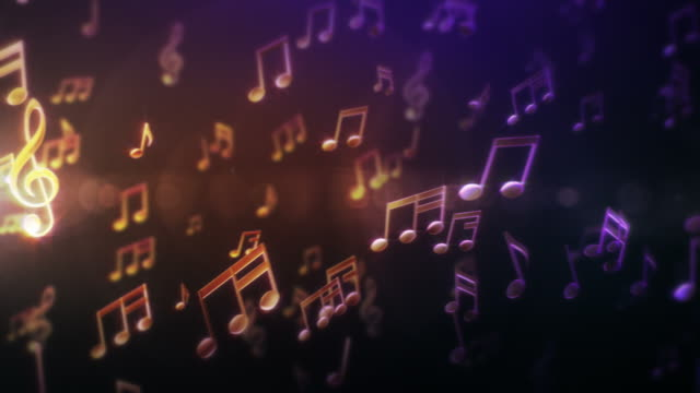 Musical Notes. Yellow-Purple-Green. Loopable video