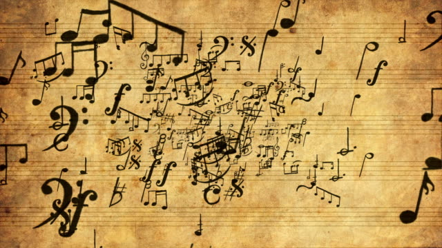 Musical Notes zoom in Loopable full HD video