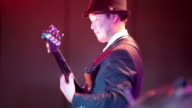 Musician is playing the bass guitar. video
