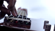 musician play electric rock bass recording song in studio video