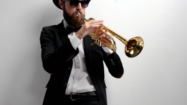 Musician playing a trumpet video