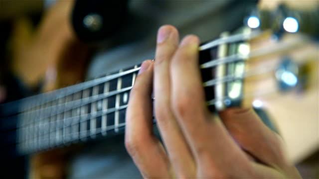 Musician Playing On Bass Guitars video