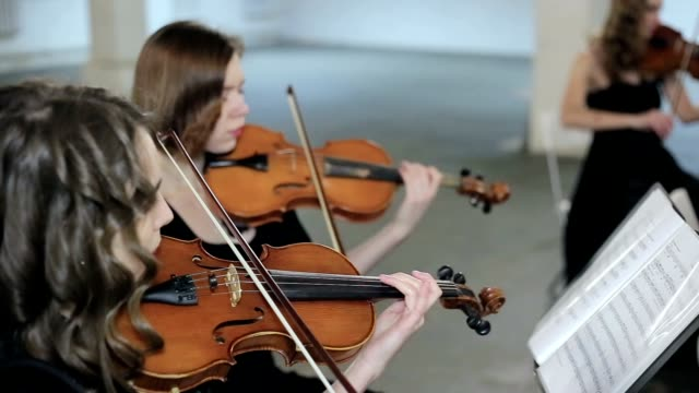 Musician playing violin, classic music video