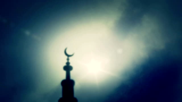 Muslim mosque Crescent on Cloudy Sky Backround video