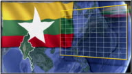 Myanmar flag and map animation video