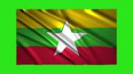 Myanmar flag waving,loopable on green screen video