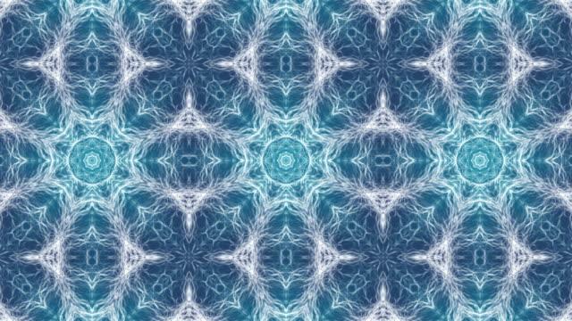 Mystical organic abstract kaleidoscope foam waves background animation. Seamless video