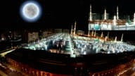 Nabawi Mosque in Medina at night in panoramic view video