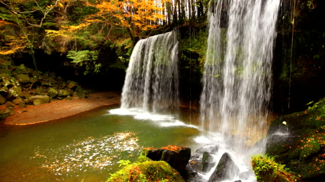 Nabegataki Falls in Japan in autumn video