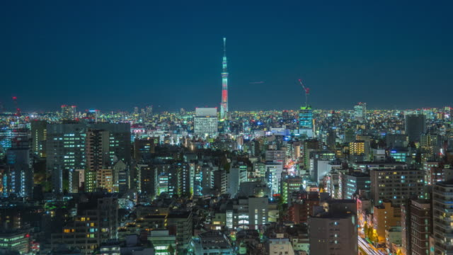 Nagoya cityscape and skyscraper with beautiful sky in twilight time video