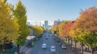 Nagoya cityscape with beautiful sky and ginkgo tree in autumn day time. video