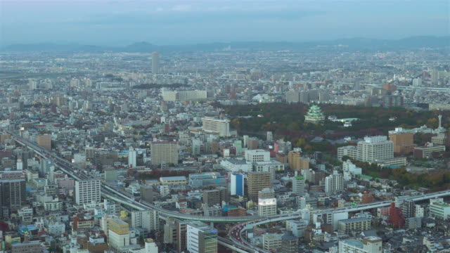 Nagoya cityscape with beautiful sky in evening time. video