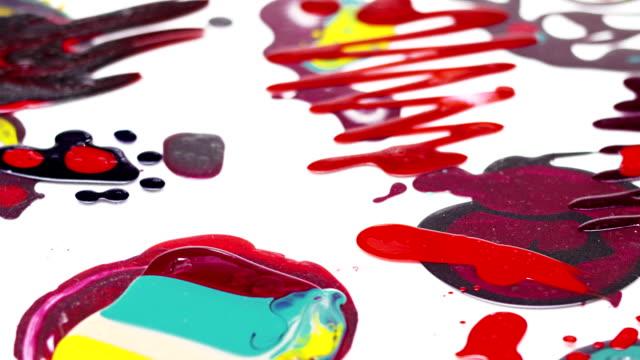 Nail polish (enamel) mixed multicolor samples rotating video