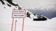Nameplate with sign truck is closed. Ski resort. Snowy mountains video