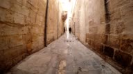Narrow Ancient Street Paved with Stones Some Men and Woman Go Out House Urfa video