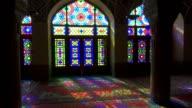 Nasir Al-Mulk Mosque in Shiraz, Iran. Pink Mosque video