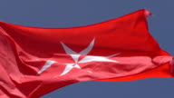 National flag civil ensign of Malta close up video