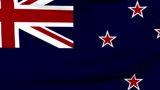 National flag of New Zealand flying on the wind video