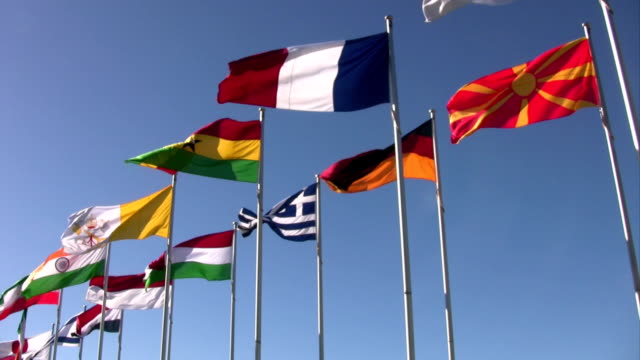 National Flags from France, Germany, Greece and more. Blue Sky. video