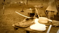 Native american indian tribe environment near the edge of a forest - Sepia Version video