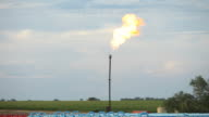 Natural Gas Flare Stack from Recently Fracked Oil Well video