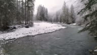 4K 60P Nature Landscape Aerial of Snow Flakes Falling on Ice Cold River in Frozen Mountain Forest video