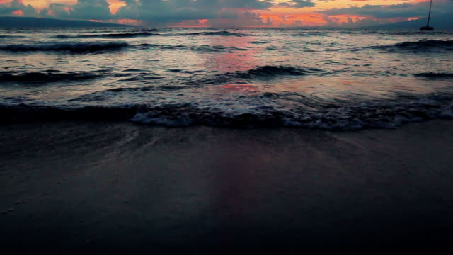 Nature Landscape Beautiful Sunse Over Incoming Waves on beach in Hawaii video