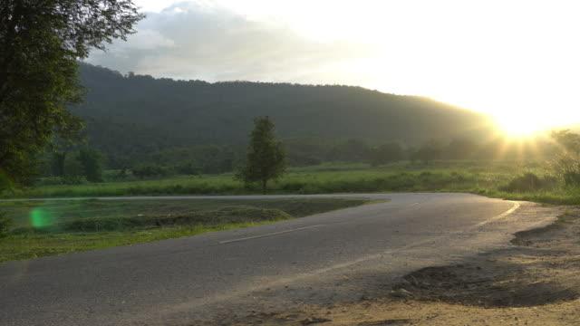 Nature landscape of sunset light above road video